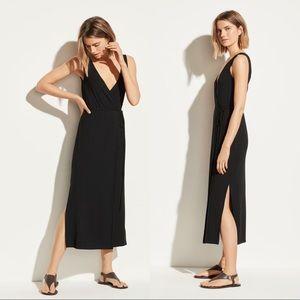 Vince Black Sleeveless V-neck Wrap Midi Dress